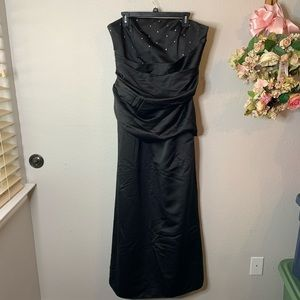 Strapless Taffeta Bridesmaid Dress w/ Rhinestones